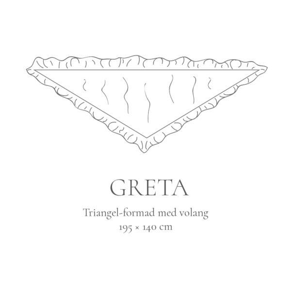 Modell Greta, triangelformad sidensjal med volang