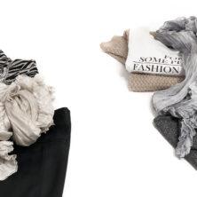 Karin Wallén Sidensjal Höstkollektion. Djurmönstrad topp, svart kjol, statement halsband och en Anna-sjal i färgen Mist / Oyster till vänster. Till höger, beige stickad tröja, vit t-shirt med text, gråmelerade byxor och en Greta-sjal i färgen Silver.